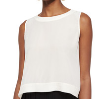 Women's Button-Back Silk Crop Shell, Petite - Eileen Fisher - Bone (PM (10/12))