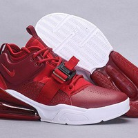 DCCK Nike Nike Air Force 270 Fashion Wine red and white Casual Leather Women Men Sneakers Sport Shoes Size 39-45