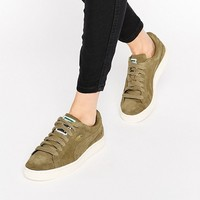 Puma Exclusive To ASOS Suede Basket Trainers In Khaki at asos.com