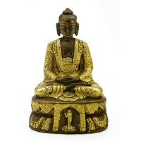 "Antique Brass Seated Buddha Shakyamuni Statue 7"" High Amitabha Budhism Figure"