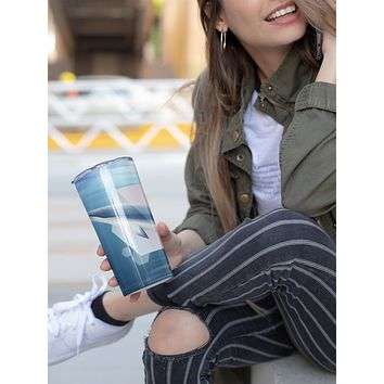 Minke Whale Skinny Tumbler With Stainless Steel Straw Watercolor Ocean Illustrated Whale Gift Idea Travel Mug Cold Hot Vacuum Lid