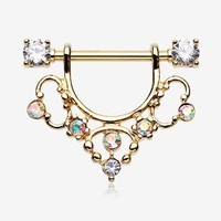 A Pair of Golden Muilla Filigree Sparkle Dangle Nipple Shield Ring