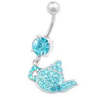 Pretty Teapot Dangle Aquamarine Crystal Belly Button Ring For Girls [Gauge: 14G - 1.6mm / Length: 10mm] 316L Surgical Steel & Crystal