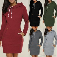 2019 New Arrive Hooded Sweatshirts Long For Women Autumn Winter Warm Top Overcoats Casual Dress Clothing With Pockets Longe FS5932