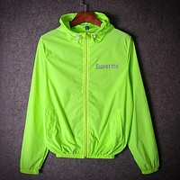 Supreme summer tide brand men and women young couple luminous luminous charge sunscreen reflective coat thin coat Fluorescent green