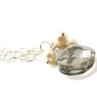 Champagne Crystal and Pearl Necklace Simple Bridal Jewelry Sterling Silver Chain