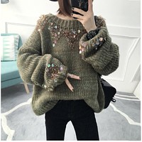 2017 Winter Korean Women Loose Pullover Knitted Warm Sweaters Female Casual Fluffy Sequin Big Sweater Oversized Jumper Tops