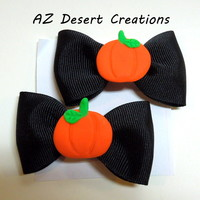 Halloween Pumpkin Hair Bows Black with Alligator Clips Set of Two