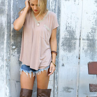 The Watchtower Mocha V-Neck Tee With Contrast Crochet Trim & Pocket
