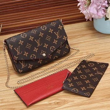 LV Women Shopping Leather Satchel Shoulder Bag Crossbody Wallet Three piece Set