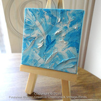Mini Oil Painting With Easel Original Oil Painting Original Art Abstract Painting Impressionist Small Oil Painting Mini Painting Blue Heart