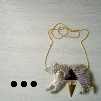 Faux Leather Necklace - Triangle of Bears in SNAKESKIN CHAMPAGNE - Short Necklace