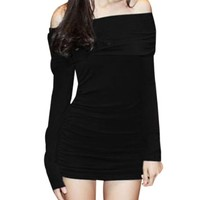 Allegra K Women Off Shoulder Side Shirred Slim Fit Clubwear Mini Dress,X-Small,Black