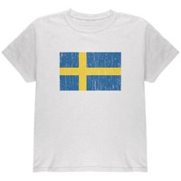 DCCKIS3 World Cup Distressed Flag Swedish Sweden Youth T Shirt