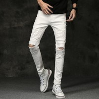 White Men Jeans Pants 2017 Autumn Mens Ripped Skinny Jeans Men Knee Hole Stretch Black Jeans Men Slim Fit Denim Trousers Male