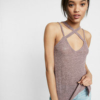 marled crisscross trapeze cami