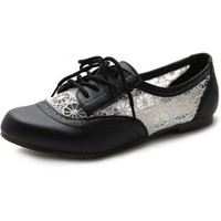 Ollio Women's Shoe Classic Lace Up Floral Breathable Oxford