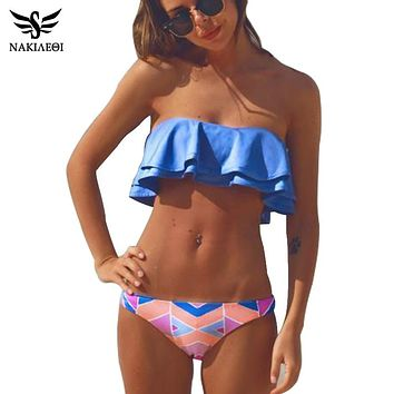 NAKIAEOI Bohemian  Bandeau Bikinis Women Swimsuit Brazilian Bikini Set Beach Bathing Suit Push Up Swimwear Hot Biquini Swim Wear
