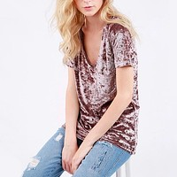 Jessica Crushed Velvet Basic Short Sleeve Deep V-Neck Tee in More Colors