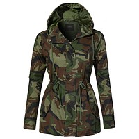 Lightweight Drawstring Waist Camo Safari Military Anorak Hoodie Jacket (CLEARANCE)