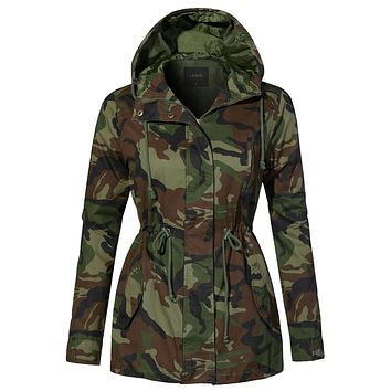 Camo Hooded Anorak with Drawstring Waist (CLEARANCE)