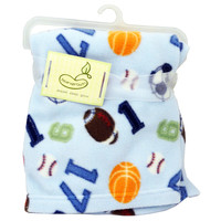 Micro Polar Baby Fleece Blanket Blue Sports Theme BeanSprout