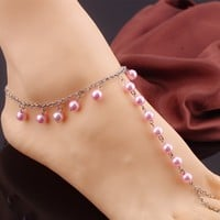 Ladies Jewelry Cute Gift New Arrival Shiny Stylish Sexy Beach Handcrafts Pearls Tassels Yoga Accessory Anklet [7241008903]