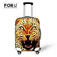 FORUDESIGNS Fashion Travel Luggage Protective Cover Cool 3D Lion Tiger Elastic Men Suitcase Covers For 18-30 Inch Trolley Cases