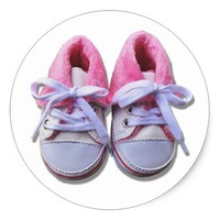 Pink Baby Shoes Classic Round Sticker