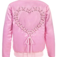 SATIN LACE UP BOMBER JACKET