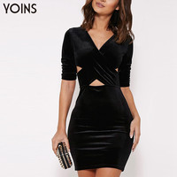 YOINS 2016 New Arrival Woman Sexy Hollow Out Bodycon Mini Dress Fashion Ladies Slim V-Neck Night Club Party Dress Brand Clothing
