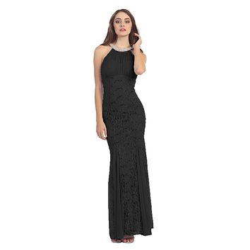 Mermaid Flair Skirt Lace Evening Gown Black Pearl Necklace
