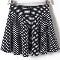 Black and White Plaid Skater Skirt