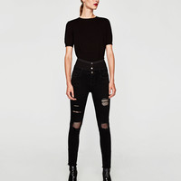 HIGH WAIST JEANS WITH MESH