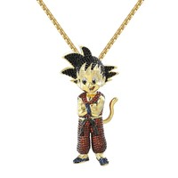 """Designer Custom Iced Out New Goku Cartoon Character  Pendant with Free 24"""" Steel Box Chain"""