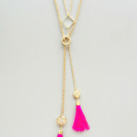 Hot Pink Tassels Necklace