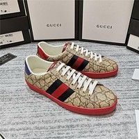 GUCCI Classic Lace up print casual shoes flat comfort sneakers