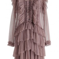Cheer You Up Ruffle Tiered Dots Mesh Dress in Dusty Pink