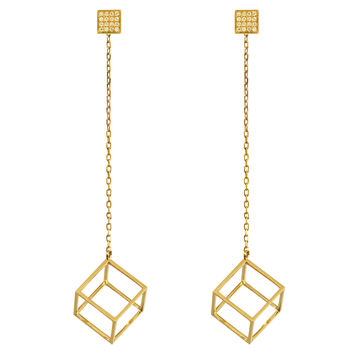 Noor Fares Hollow Cube Dress Earrings - ShopBAZAAR