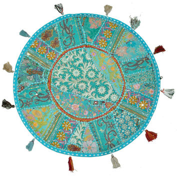 """Beautiful 22"""" Decorative Round Floor Pillow in Blue Cushion round embroidered Bohemian floor cushion pouf Vintage Indian Foot Stool Bean Bag"""