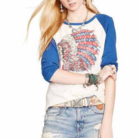 White Indian Chief Print Loose Shirt