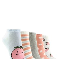 Peach Graphic Ankle Socks - 5 Pack