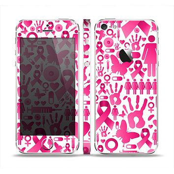 The Pink Collage Breast Cancer Awareness Skin Set for the Apple iPhone 5