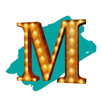 "24"" Letter M Lighted Vintage Marquee Letters (Rustic)"