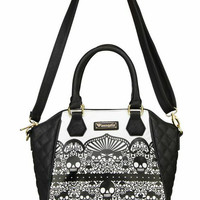 """""""Skull Detail With Quilting"""" Crossbody Handbag by Loungefly (Black/White)"""
