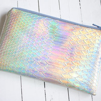 Mermaid pouch, Holographic pouch, iridescent bag, small pouch, faux leather, pastel pouch, customizable color zipper