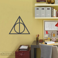 Deathly Hallows Symbol 22 -  Vinyl Wall Art - FREE Shipping - Fun Harry Potter Inspired Wall Decal