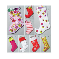 CHRISTMAS STOCKING Pattern Easy to Sew Felt Stockings 8 Styles Butterick 4628 UNCuT Craft Sewing Patterns DIY Gifts Crafts for Children Kids