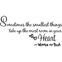 """Winnie the pooh Quote Wall Art decor decal """" Sometimes the smallest things take up the most room in your heart """" winnie saying Wall Sticker Decal for child Bedroom decor Birthday Gift for boys and girls"""