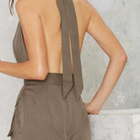 Army Green Strap Deep V-Neck Piece Pants Pocket 11545